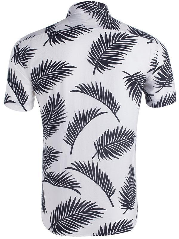 Men Printed Leaf Casual Short Sleeve Hawaiian Blouses&shirts Tops
