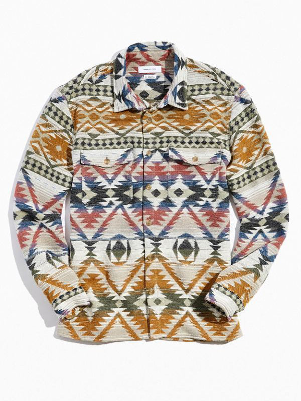 Men Ethnic Style Printed Casual Long Sleeve Shirt