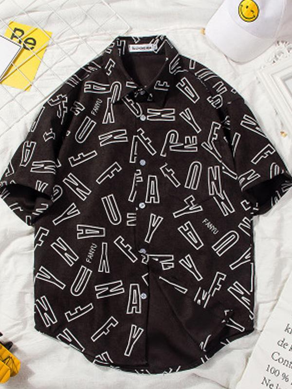Letter Pattern Printed Short Sleeves Mens Blouse&shirt