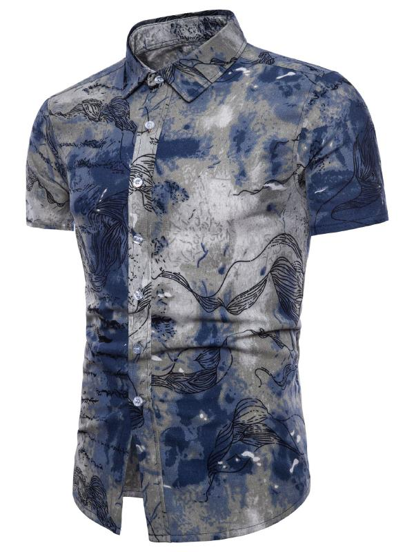 Men Fashion Summer Printed Shirt