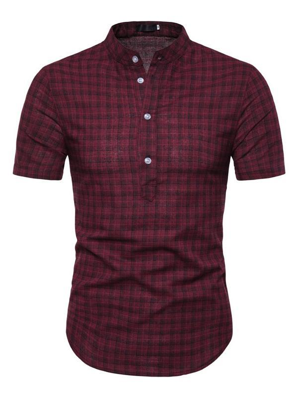 Men Short Sleeves Plaid Blouse&Shirt