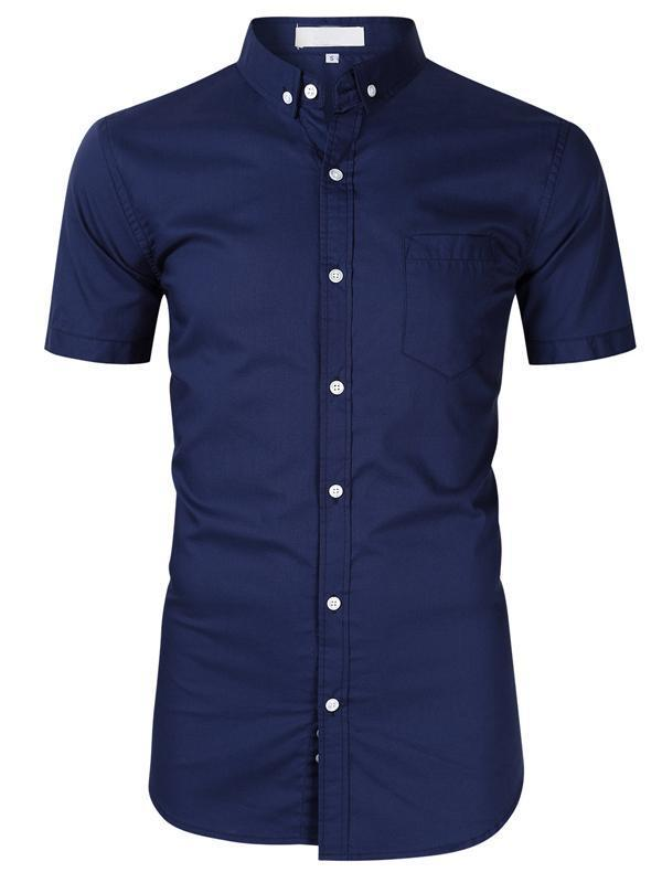 Mens Cotton Solid Chest Pocket Button Up Blouses&shirts Tops