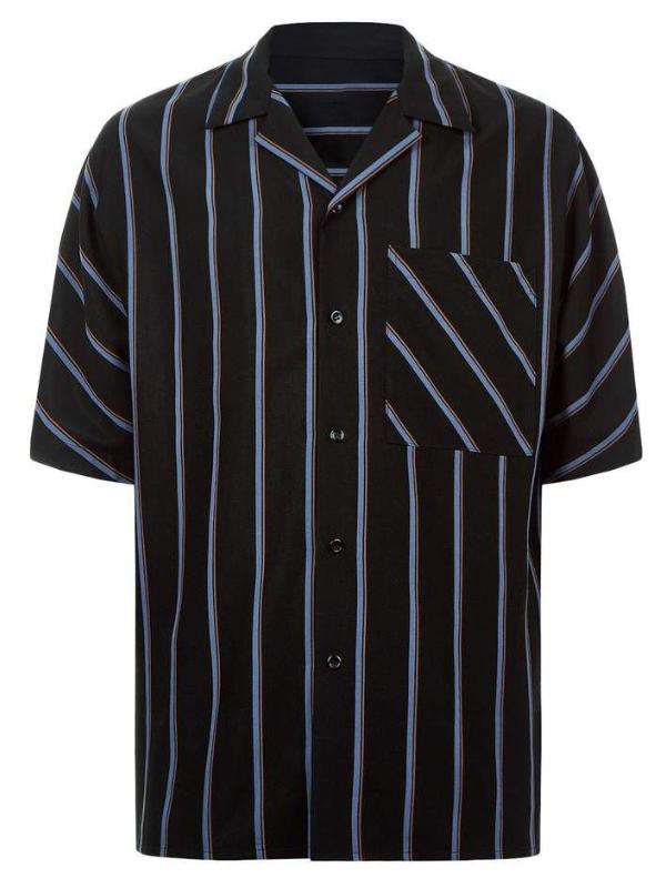 Men Fashion Striped Pockets Shirt