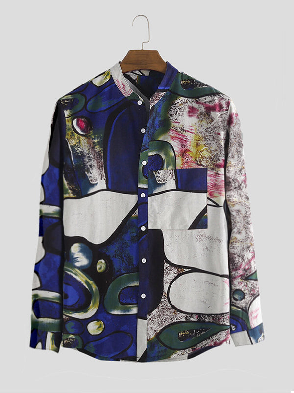 Men Ethnic Abstract Printing Long Sleeve Lapel Shirt