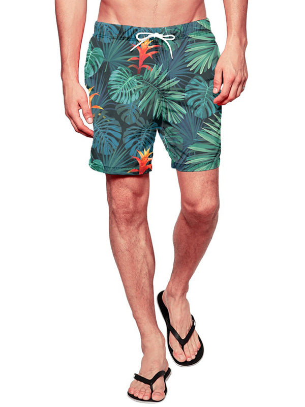 Men Hawaii Beach Style Casual Pants Leaf Printed Shorts Swimming Trunks