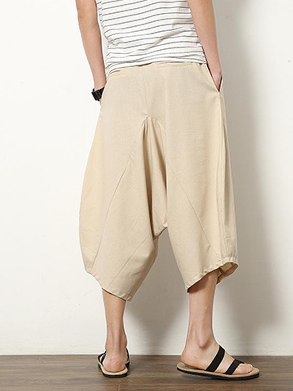 Plus Size Solid Color With Pockets Loose Pants Bottoms