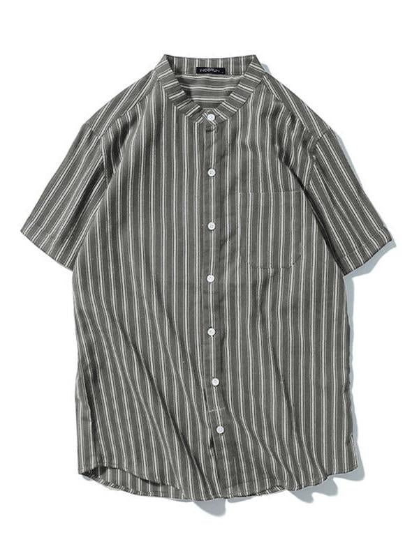 Men Striped Short Sleeves Lapel Shirt