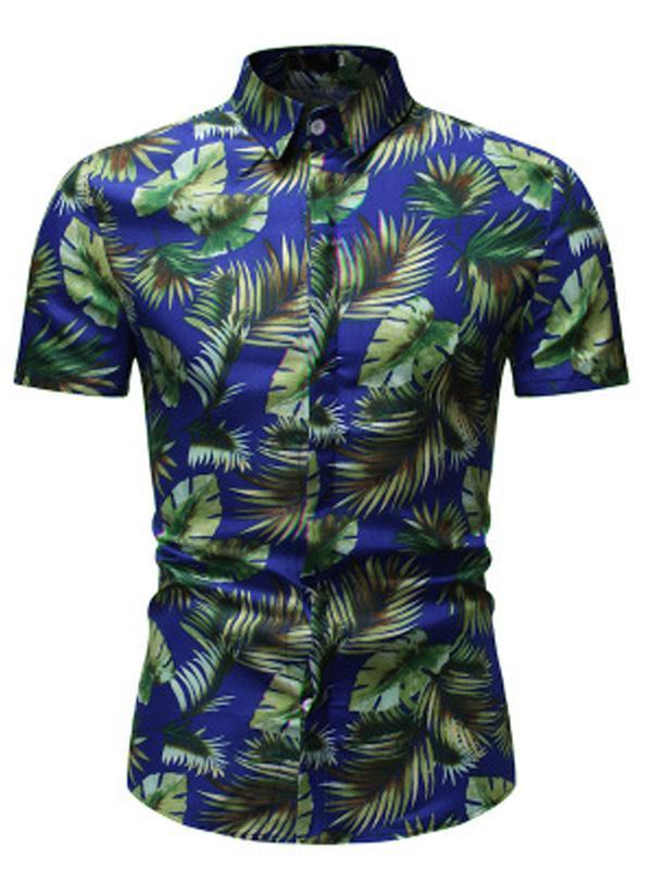 Palm Leaf Printed Short Sleeve Men Blouses&shirts Tops