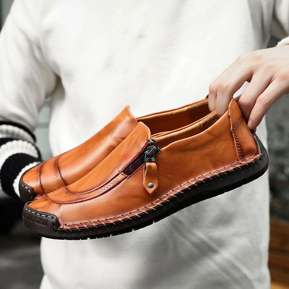 Men Low-Cut Upper PU Round Flat Heel Shoes