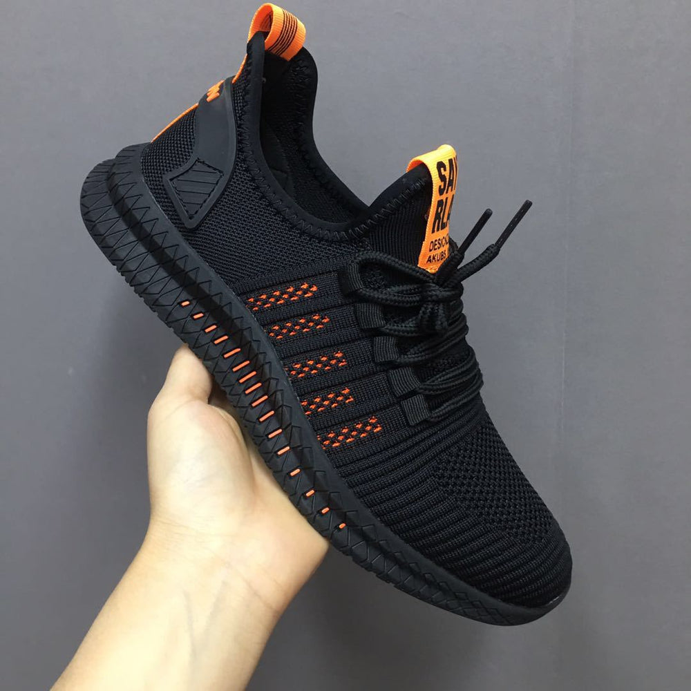 Men Lace-Up Mesh Athletic Shoes