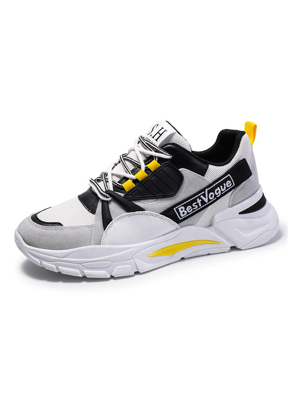 Men Casual Lace-Up Leather Athletic Shoes