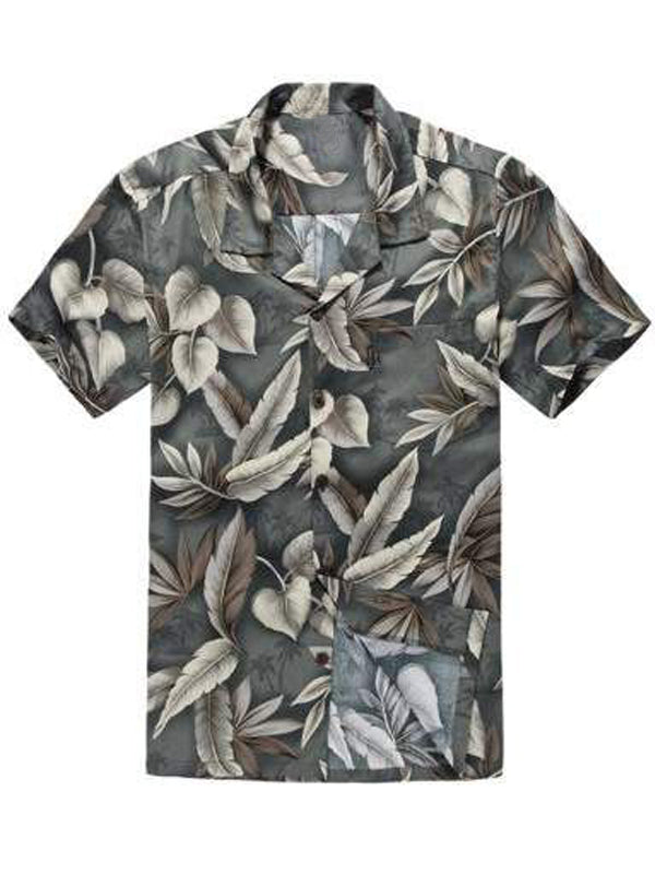 Men Short Sleeves Lapel Hawaii Style Shirt