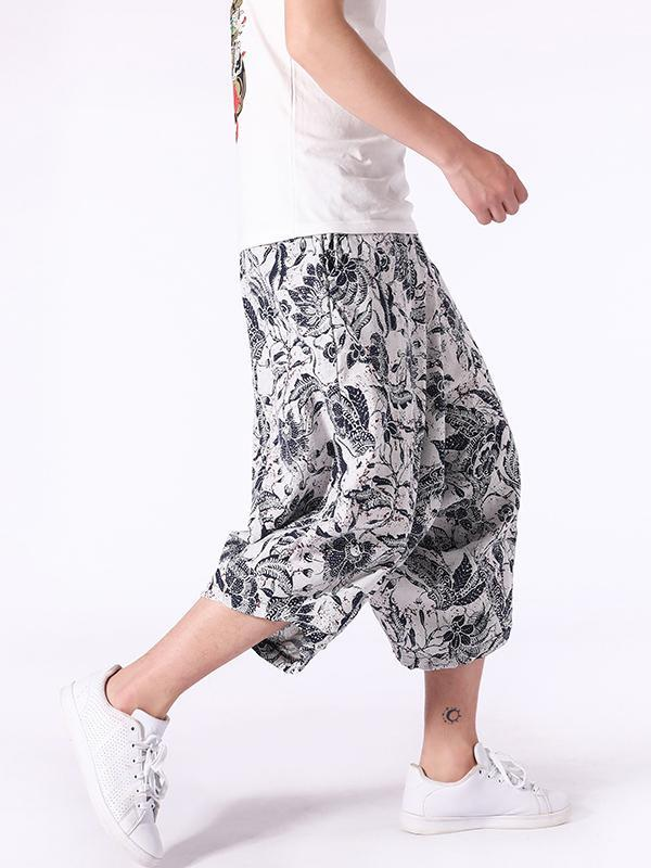 Plus Size Printed Floral Casual Loose Harem Pants