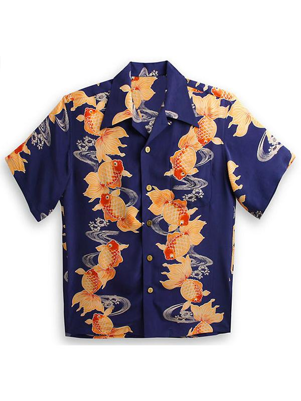 Men Vintage Goldfish Printed Shirt