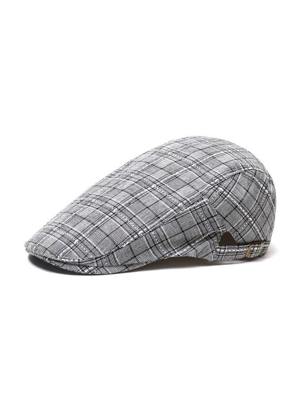 Adjustable Outdoor Plaid Casual Cap Beret Hat