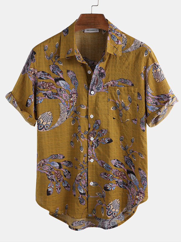 Men Ethnic Printed Suimmer Short Sleeves Retro Shirt
