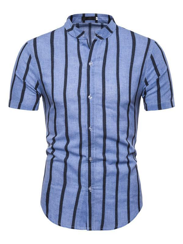 Men Short Sleeves Striped Blouse&Shirt Top