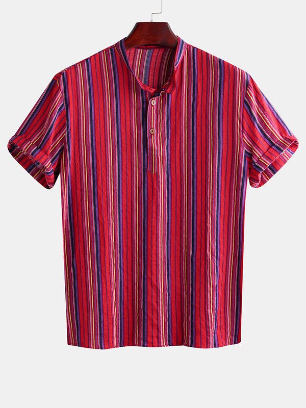 Men Casual Striped Printed Short Sleeves Shirt