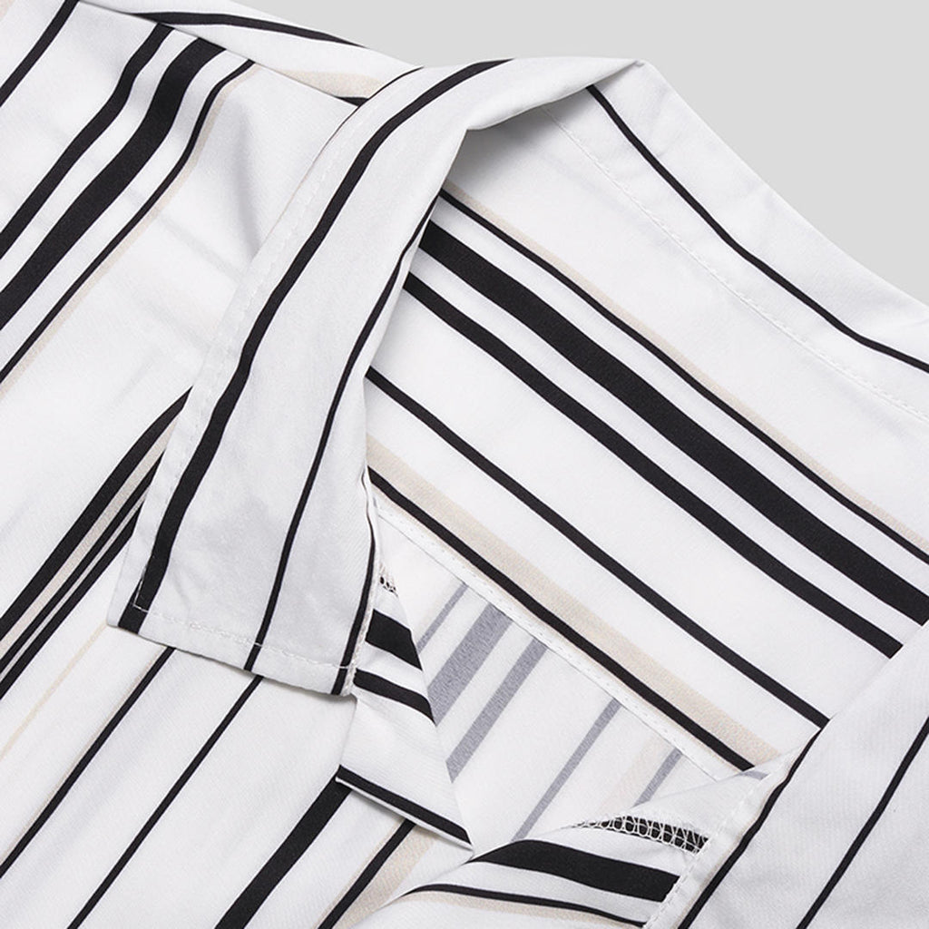 Men Retro Striped Button-Down Summer Shirt