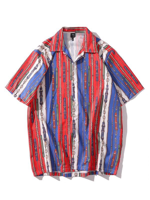 Men Ethnic Style Striped Printed Shirt