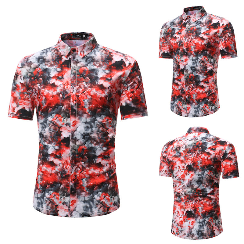 Men Holiday Casual Printed Short Sleeves Shirt