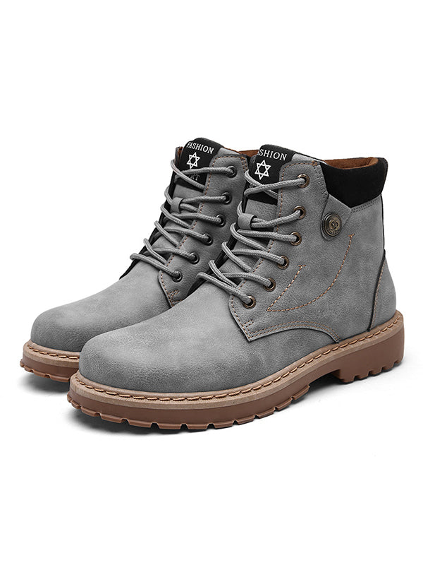 Men's Low Heeled Lace Up Martin Booties