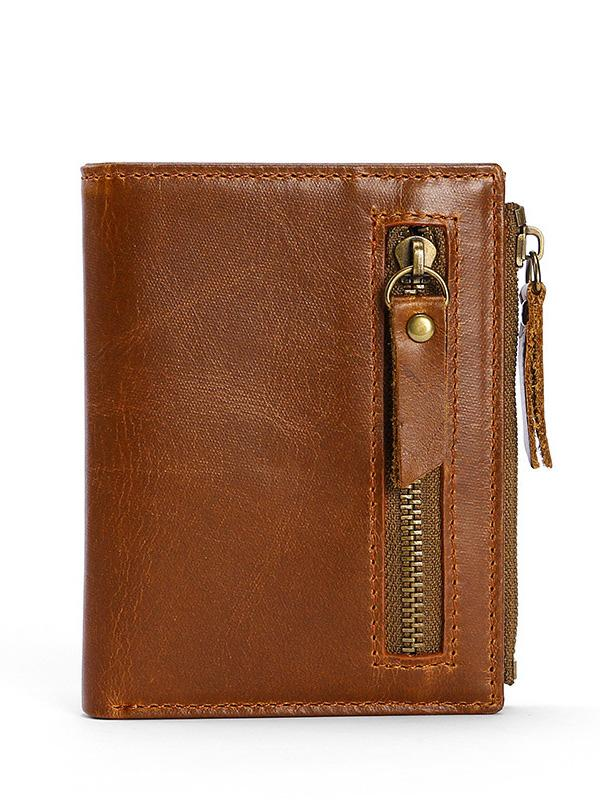 Solid Zipper Leather Multi-pocket Wallet