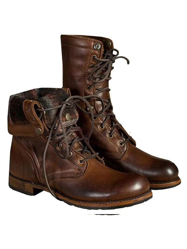Men Color Mix Round Lace-Up Front Boots