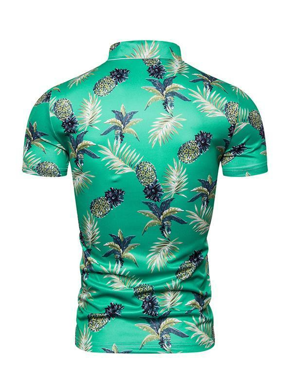Mens Pineapple Printed Short Sleeves Polo Shirts Top