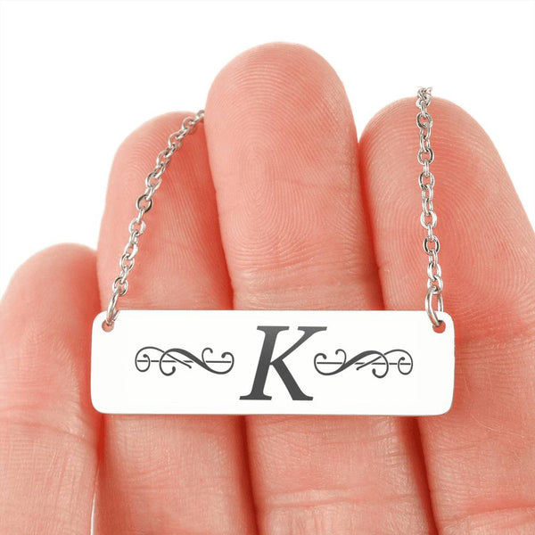 "Letter ""K"" Mini Tag Necklace - with Engraving"