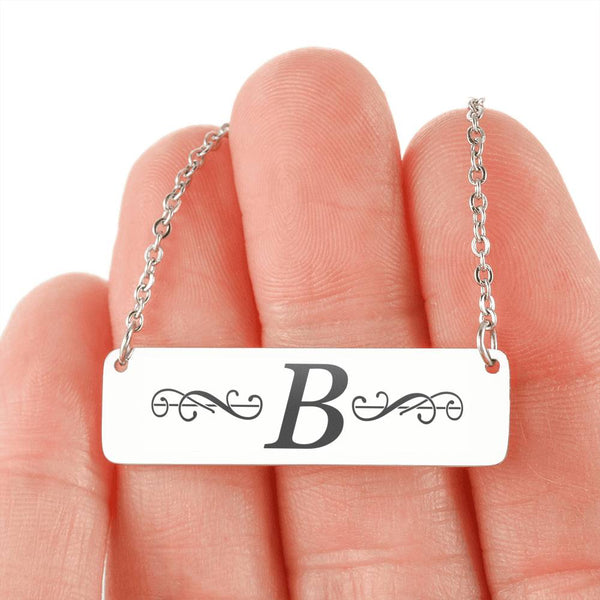 "Letter ""B"" Mini Tag Necklace - with Engraving"