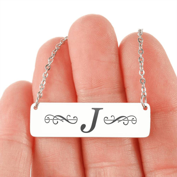 "Letter ""J"" Mini Tag Necklace - with Engraving"