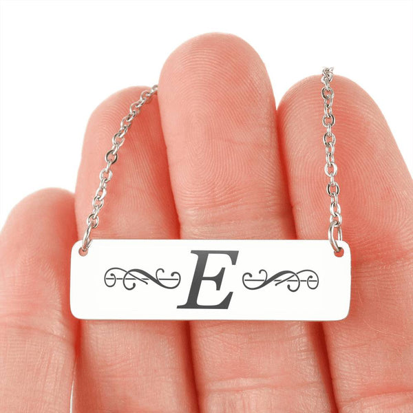 "Letter ""E"" Mini Tag Necklace - with Engraving"