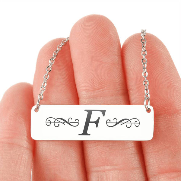 "Letter ""F"" Mini Tag Necklace - with Engraving"