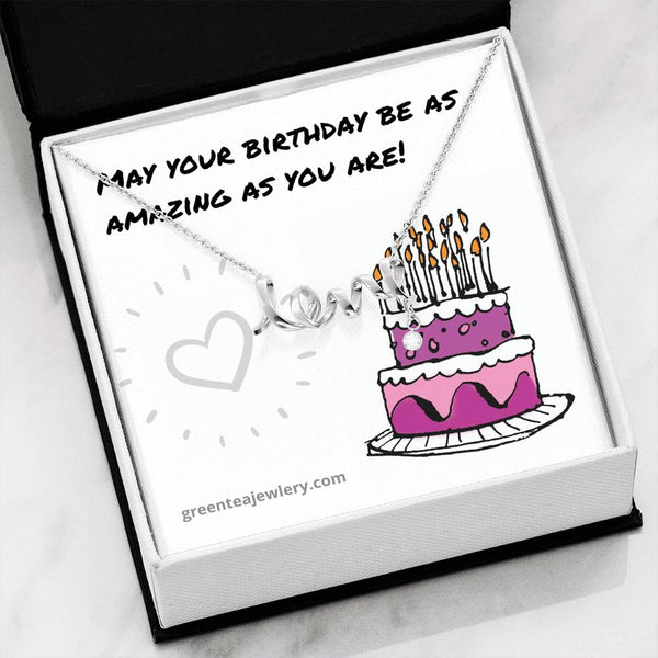 "#4 Happy Birthday Card with Cursive ""LOVE"" Pendant Necklace"