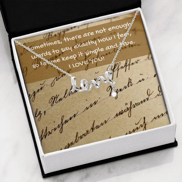 """Not enough words.."" Message Card & Cursive LOVE Necklace"