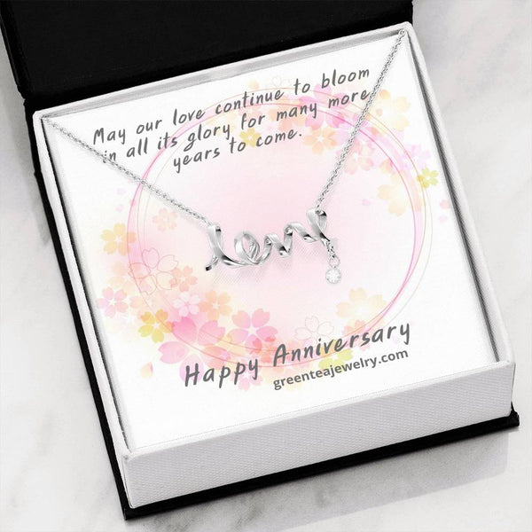 "#2 Cursive ""LOVE"" Pendant with Happy Anniversary Message Card"
