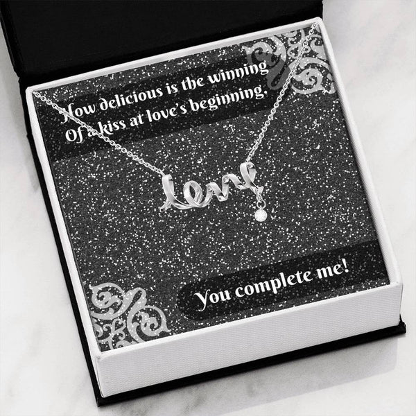 """Winning Kiss.."" Message Card & Cursive LOVE Necklace"