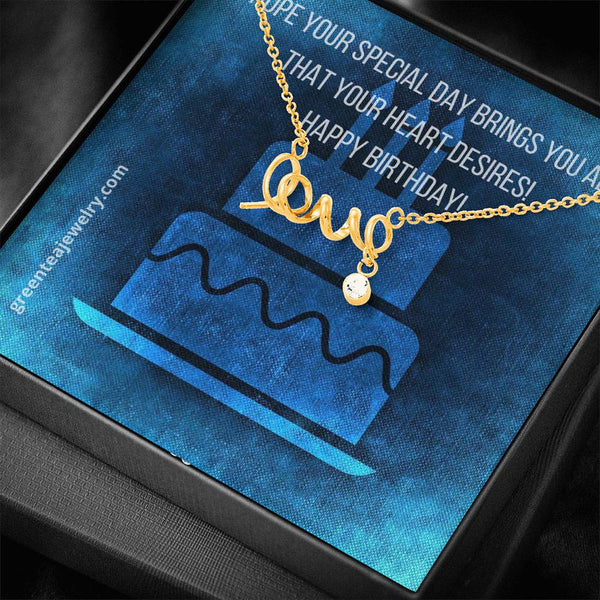 "#2 Happy Birthday Card with Cursive ""LOVE"" Pendant Necklace"