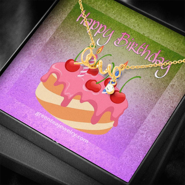 "#1 Happy Birthday Card with Cursive ""LOVE"" Pendant Necklace"