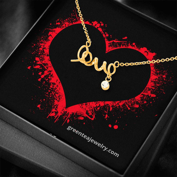 "Yearning Heart Message Card with Cursive ""LOVE"" Pendant"