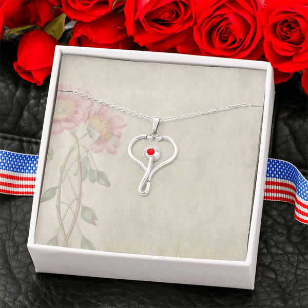 Stainless Steel Stethoscope Necklace with blank Message Card #2