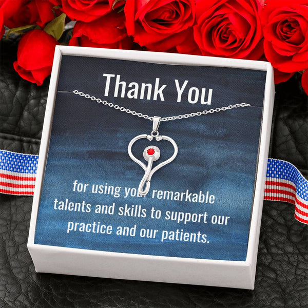 "Stainless Steel Stethoscope Necklace with ""Thank You"" Message Card #2"