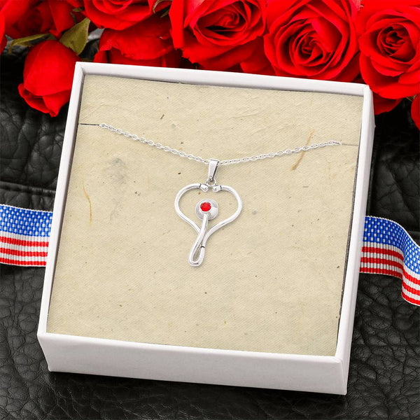 Stainless Steel Stethoscope Necklace with blank Message Card #1