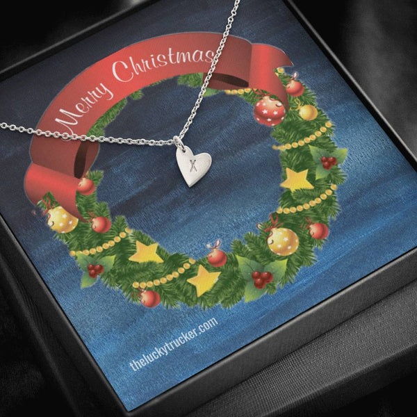 Merry Christmas - Monogramed Mini-Heart Necklace