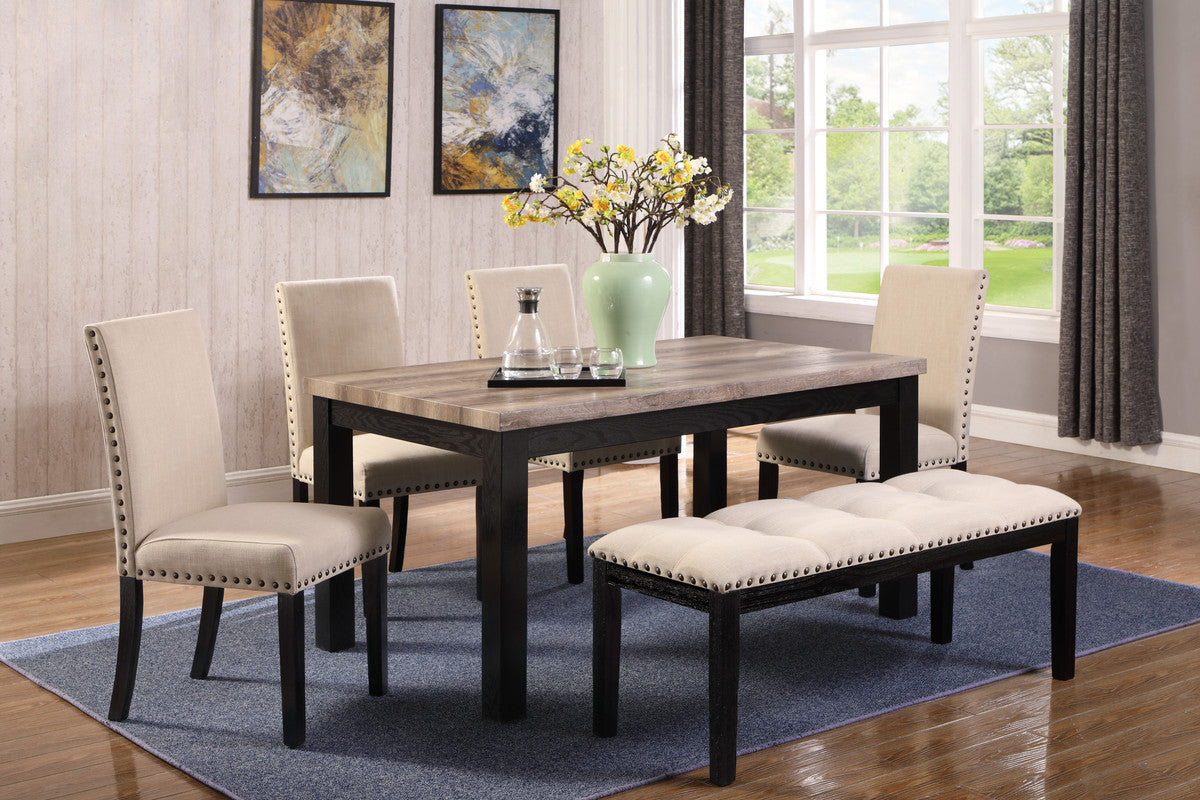 Elisa Dining Series(Table w/ 4 chairs and 1 Bench)