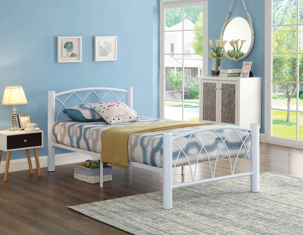 Linda White Metal Bed, Single/Double/Queen