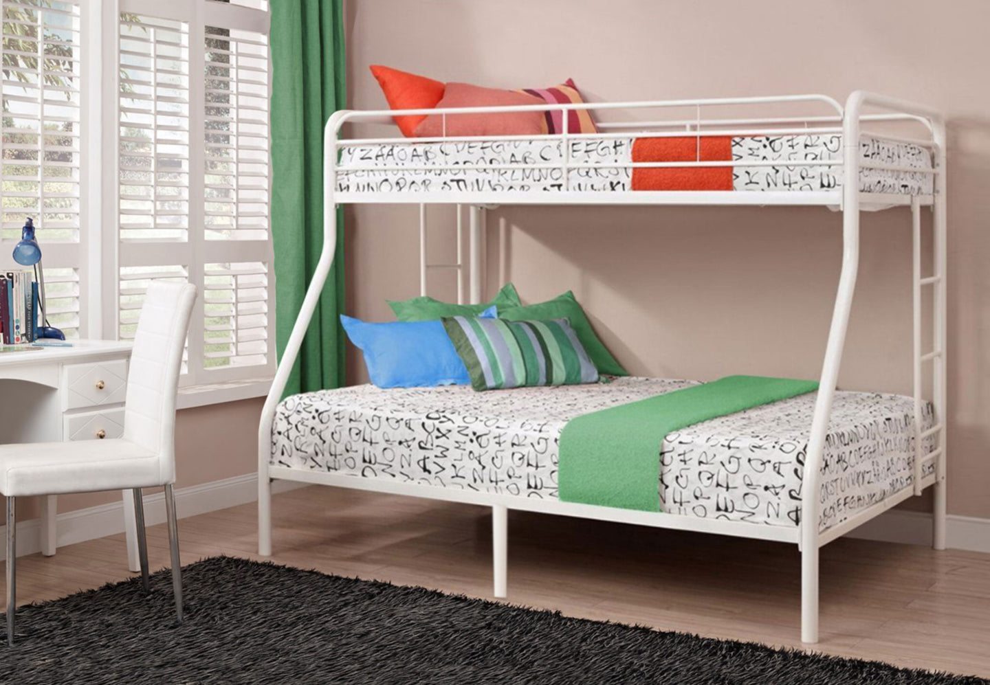 Abigail Twin/Full Bunk Bed - White
