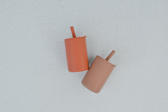 Silicone smoothie cup with lid ( autumn glaze)