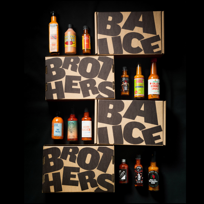 Twelve premium bottles of craft hot sauce
